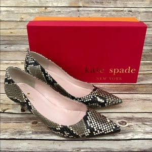 Kate Spade Melanie snake skin kitten heels